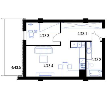 Mieszkanie43-pietro3-PrestigeAparts-Oswiecim